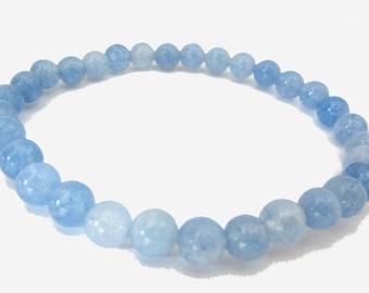 Blue Aquamarine Power Bracelet | Aquamarine Gemstone Beads, Elastic stretchy Bracelet | for women Beaded Bracelet, 6mm-8mm