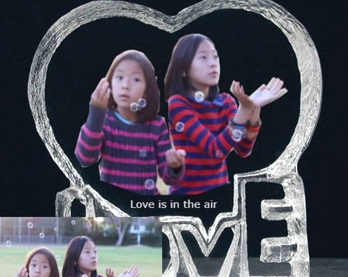 """6"""" x 6"""" Custom Picture Crystal   Heart Shape w Love   Personalized Photo Crystal Gift   Plaque D16"""