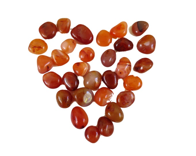 Small Red Carnelian Tumbled Stone, Choose number of stones, 'A' Grade Carnelian, Creative Stone
