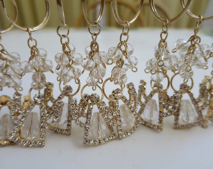 12 x Gold Angel Mini Triangle Crystal Keychain, Wedding Christening Baptism Giveaway, Communion Confirmation Favor, Sweet 16, Quince Nino