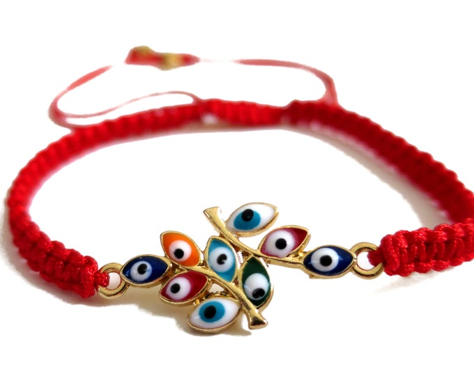 Evil Eye Tree Cord Bracelet   Tree of Eyes Bracelet Adjustable   Red Cord Bracelet Lucky Charm Protection
