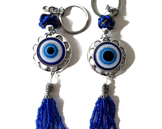 2 (Two) Blue Evil Eye Keychain, Round Eye ball Circle Shape Evil Eye Blue Evil Eye, Lucky Charm protection