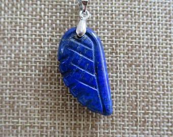 Blue Lapis Lazuli Angel's Wing Pendant Necklace, Lapis lazuli stone pendant, Lapis gemstone necklace