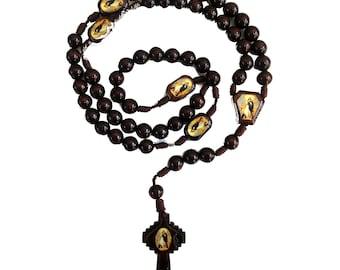"Assumption Wooden Rosary, Assumption of Mary into Heaven, Catholic Saint Rosary, Prayer Beads, RCIA gifts, Men's Rosary, 16.5"""