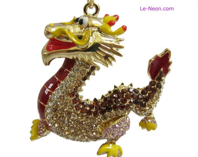 "Purse Charm "" Gold Dragon with movable head ""  Keychain Crystal Rhinestone Sparkling Key Ring Gift"