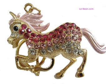 "Purse Charm "" Pink Horse ""  Keychain Crystal Rhinestone Sparkling Key Ring Gift"