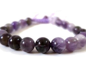 African Amethyst Power Bracelet | Amethyst Gemstone Beads Adjustable Knot | men women 6mm - 8mm, Knot Closure