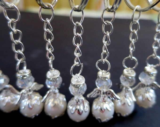 12 x Faux Pearl Mini Angel Keychain,  Christening Baptism Giveaway, Communion Confirmation Favor, Sweet 16, Quince Nino