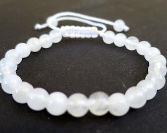 Clear Quartz Power Bracelet   Quartz Gemstone Beads Adjustable Bracelet   For man woman, Men's Bracelet, 6mm knot Closure