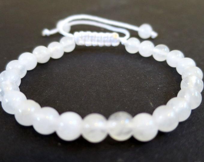 Clear Quartz Power Bracelet | Quartz Gemstone Beads Adjustable Bracelet | For man woman, Men's Bracelet, 6mm knot Closure
