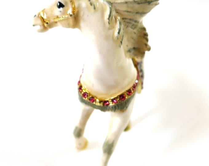 """Bejeweled """" white Horse head turning back Jeweled Saddle """" Hinged Metal Enameled Rhinestone Trinket Box"""