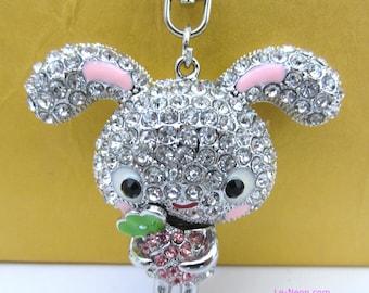 "Purse Charm "" Big Ear Rabbit Holding Strawberry ""  Keychain Crystal Rhinestone Sparkling Key Ring Gift"