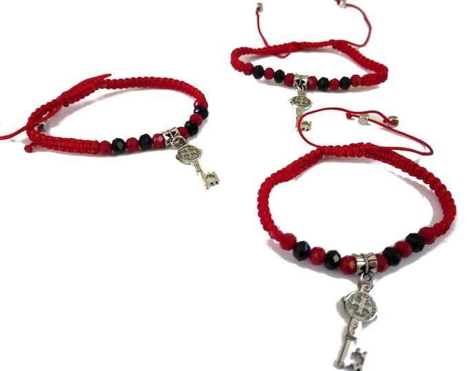 6x St Bendict Key Charm Bracelet, Adjustable Saint Benedict Cord Bracelet, Red String religious gift, party favors