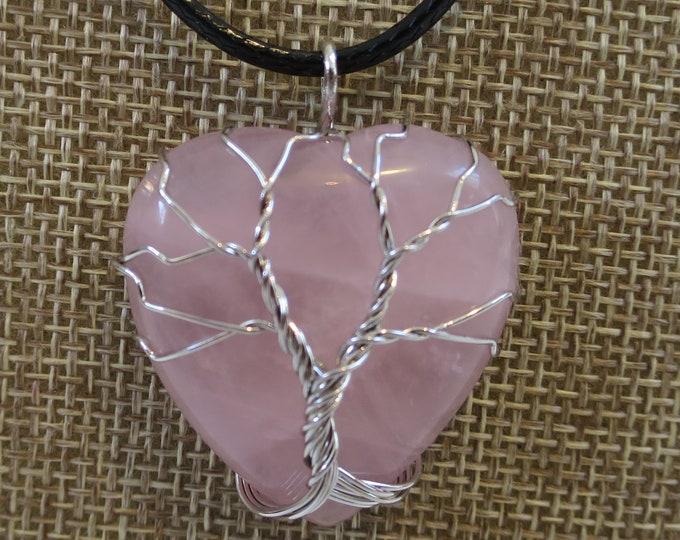 Rose Quartz Natural Stone Pendant Necklace, Gemstone wired Pendant, Heart Shaped