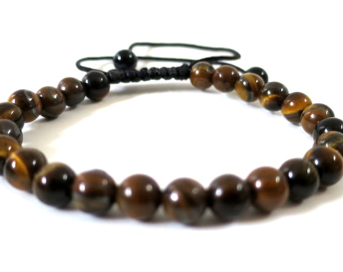 Tiger's Eye Bracelet w Knot | Gold Blue Red Tiger eye Gemstone Beaded, Adjustable Knots Bracelet | Man Woman Men's Beaded Bracelet, 6mm-8mm