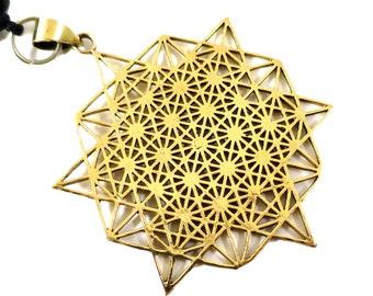 Grid of Life Symbol Pendant, 64 Tetrahedrom Grid Pendant, Gold | Adjustable rope | Sacred Geometry, Mystical New age Jewelry