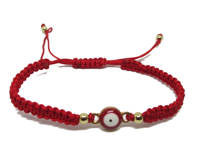 Simply Evil Eye Cord Bracelet, Enameled Evil Eye, Adjustable Red Cord String Bracelet, Lucky Charm Protection for kids or teens