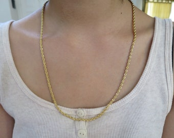 14K Gold Plated Rope Chain, Twisted Rope Chain, men's man women's Necklace, choose size