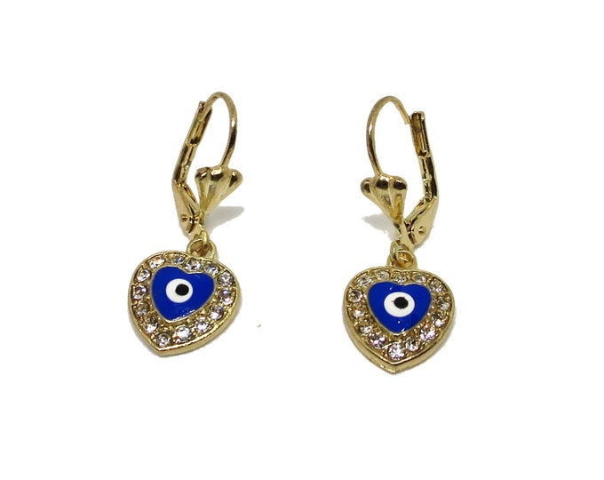 14K Gold Evil Eye Heart Earrings   Evil Eye Charm Earrings Huggies Hoops, Gift for Her