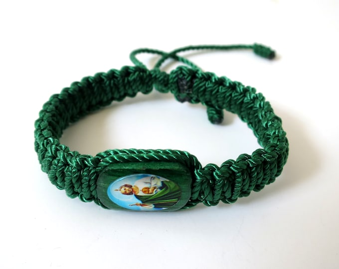 St. Jude Saint Jude Knotted Rope Bracelet Handmade Green Color Wood Charm