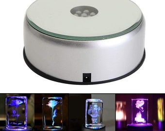 3 inch LED 4 color light rotating light stand base display Night Light Turntable for crystal cube
