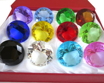 40mm Glass Diamond Jewel Art Glass Paperweight Box Set 12pcs