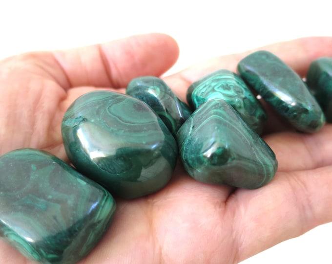 "1 Large Malachite Tumbled Stone, ""A"" Grade Malachite Stone, The Transformation Stone"