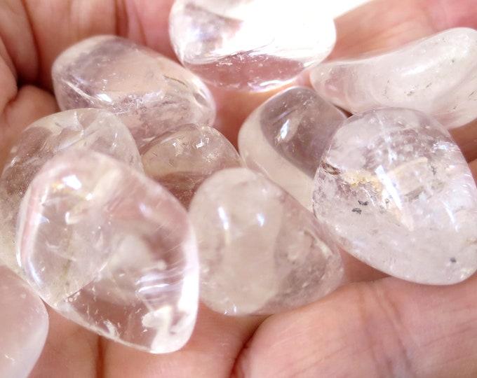 "Medium Clear Quartz Tumbled Stone, Choose Number of Stones, ""A"" Grade Quartz Tumbles, Master Healer Stone"