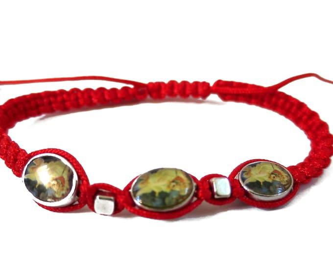 Guardian Angel Cord Bracelet, Hand-Woven Braided Adjustable Cord Saints Religious Catholic, Protection