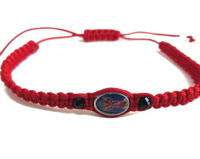 Baby Jesus, Divino nino jesus, Tiny Red Cord Bracelet, Saints Beads Bracelet, Catholic Bracelet, Religious Gift