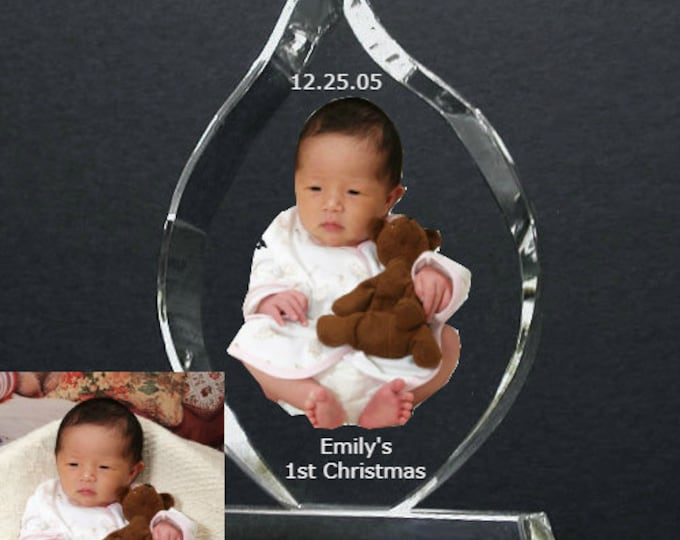 """3"""" x 5""""  Custom Picture Crystal   Flame w Stand   Personalized Photo Crystal Gift   Plaque B11"""