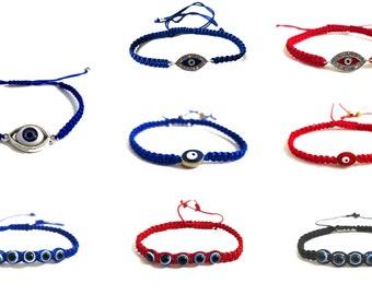 Evil eye cord bracelet, good luck bracelet, protection bracelet, choose your style