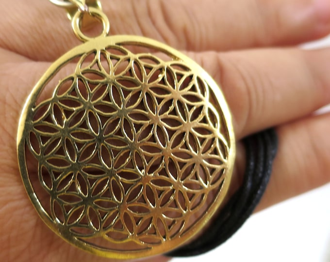 Flower of Life Symbol Pendant Gold tone | Adjustable rope | Sacred Geometry, Mystical New age Jewelry