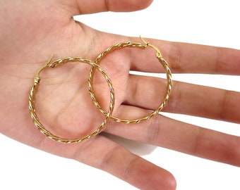 14K Gold Filled Twisted Hoops Earrings, Thin Hoops | Gold twisted Hoop Earrings