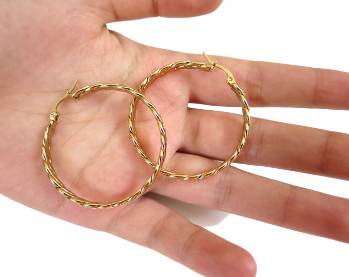 14K Gold Filled Twisted Hoops Earrings, Thin Hoops   Gold twisted Hoop Earrings