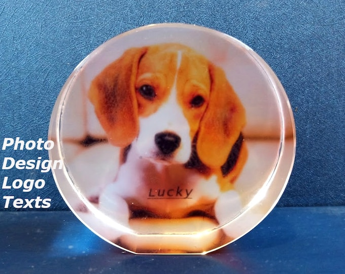 """3.2"""" x 3.2"""" Custom Picture Crystal   Small Circle free standing   Personalized Photo Gift C8"""