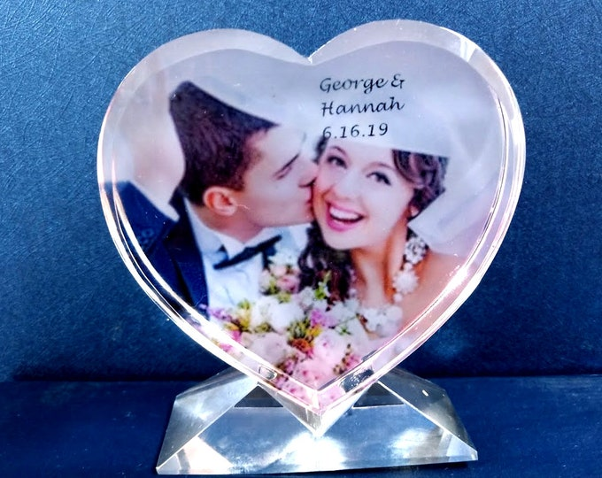 """3.5"""" x 3.75"""" Custom Picture Crystal   Heart w stand   Personalized Photo Crystal Gift   Plaque D19"""