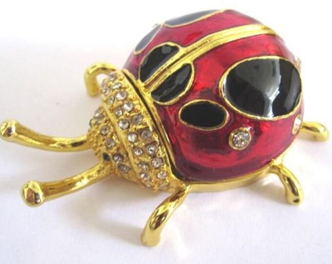 """Bejeweled """" Ladybug"""" Hinged Metal Enameled Rhinestone Trinket Box"""