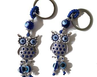 2 (Two) Blue Evil Eye Keychain, Owl Evil Eye Blue Evil Eye, Lucky Charm protection