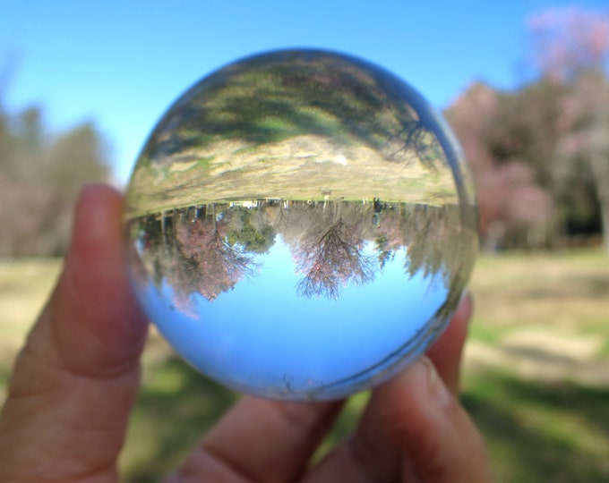 Clear Leaded Glass Crystal Ball w/ Stand, Gazing Sphere Scrying Orb Wiccan Pagan Reiki Healing