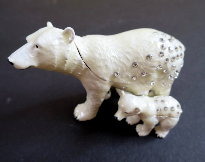 "Bejeweled "" Polar Bear Mom and Baby "" Hinged Metal Enameled Rhinestone Trinket Box"