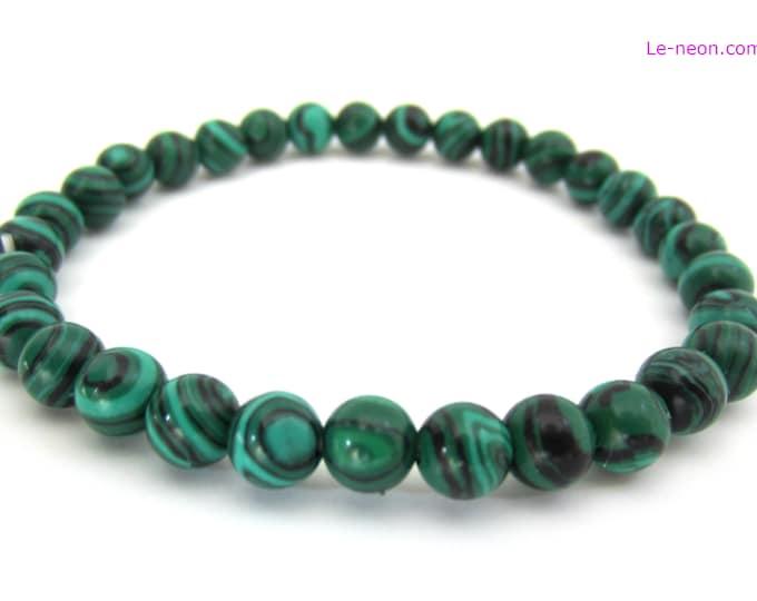 Green Malachite Bracelet | Malachite Gemstone Beads, Elastic Bracelet | Man,Woman,Mens Beaded Bracelet,  6mm-8mm