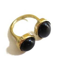 Power Black Onyx Double Stone Ring, Brass Ring, Natural Gemstone, Open Size Ring, Bold Statement Ring