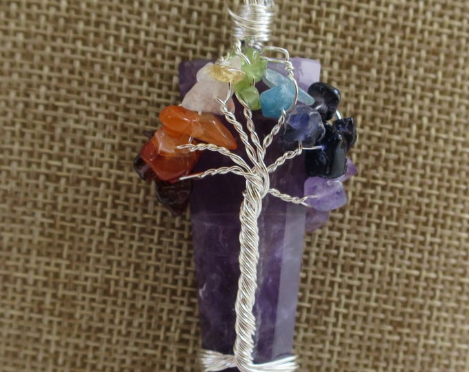 Natural Crystal Tree Amethyst Point Pendant Necklace, Gemstone wired Pendant, Crystal Tree of Life