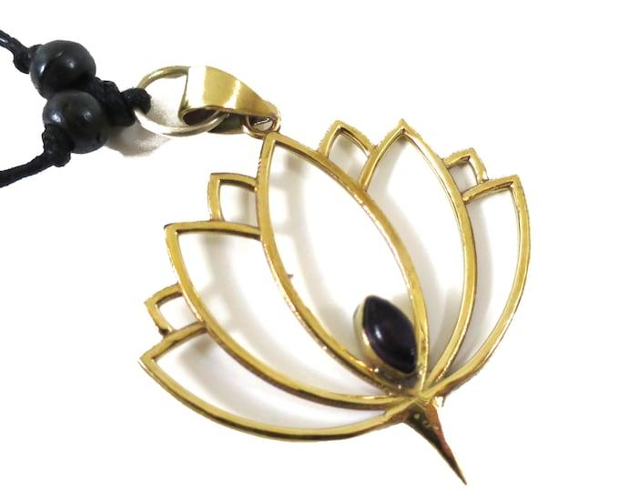 Lotus Flower Symbol Pendant Sacred Symbol Pendant Gold tone | Amethyst Gemstone, Adjustable rope | Buddhism Hindu Yoga