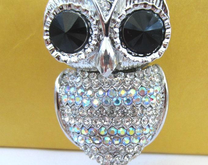 "Purse Charm "" Big Eye Owl with Movable Head & Tail  ""  Keychain Crystal Rhinestone Sparkling Key Ring Gift"
