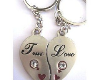 "6 sets x couple Keychain set Matching love Keychain ""True Love"" Keychain Favors Valentine's gift"