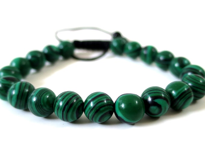 Green Malachite Bracelet w/ Knot | Malachite Gemstone Beads, Adjustable Knot Closure | Man,Woman,Mens Beaded Bracelet, 6mm-8mm