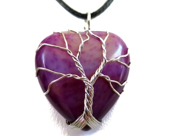 Purple Banded Agate Natural Stone Pendant Necklace, Gemstone wired Pendant, Heart Shaped