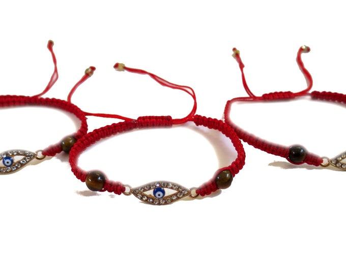6 x Evil Eye Crystal  Bracelets, Adjustable Cord Bracelet, Party Favors gifts, bulk wholesale lot
